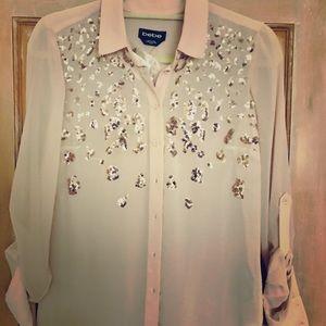 Bebe chiffon pink sparkly blouse